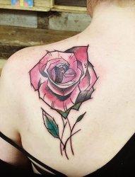 女性彩色植物颜料纹身玫瑰花纹身图案