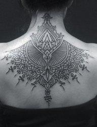 个性黑色手绘几何纹身图案
