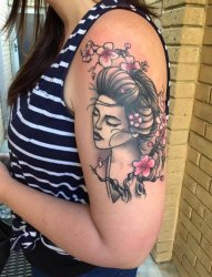 v手臂上纹身黑白灰风格点刺纹身植物纹身素材花朵纹身人物肖像纹身图片