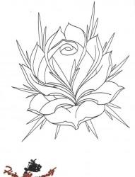 old school风格的花素材带线稿分享二照片