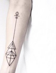多款黑色线条几何元素创意文艺小清新纹身图案