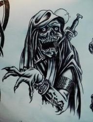黑白骷髅鬼爪纹身手稿作品