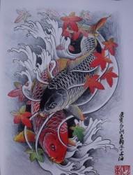 枫叶和鲤鱼的纹身手稿图