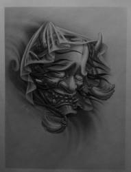 男士黑白般若人物头像纹身手稿图案