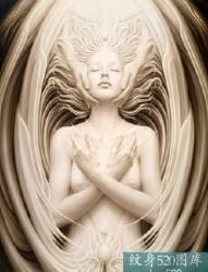 抽象女性天使纹身手稿