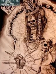 一张精致的骷髅纹身手稿