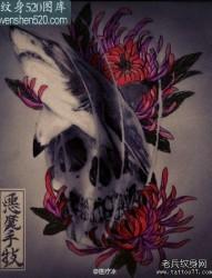 潮流很帅的一张骷髅与鲨鱼纹身手稿