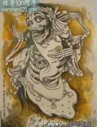 一张超帅经典的骷髅纹身手稿