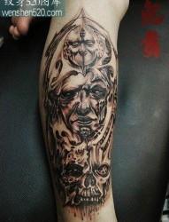 腿部潮流经典的欧美骷髅与鬼头纹身图案