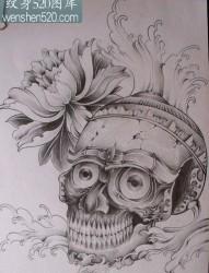 宗教纹身图案:嘎巴拉牡丹纹身图案纹身图片