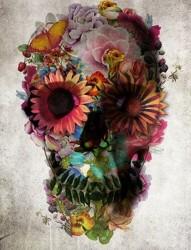 创意花朵骷髅图