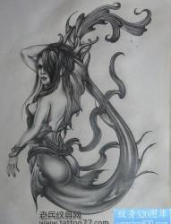 流行另类的美人鱼纹身手稿