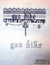 一张流行性感的蕾丝纹身手稿纹身图片