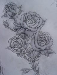 一张黑白前卫的玫瑰花纹身手稿