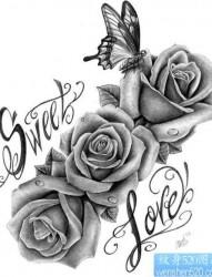 唯美前卫的黑白玫瑰花纹身手稿