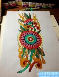 漂亮流行的彩色花卉纹身手稿