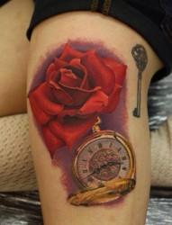 女孩腿部玫瑰时钟刺青