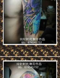 男生手臂帅气好看的般若鲤鱼纹身图片