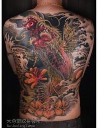 男生后背很酷霸气的满背鳌鱼纹身图片