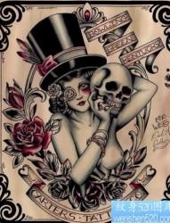 纹身图片:经典欧美美女骷髅花卉纹身图片图案