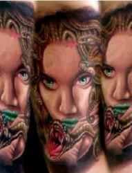 小臂人物彩色头像纹身图案