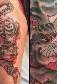 大腿欧美猫蛇铃铛纹身图案