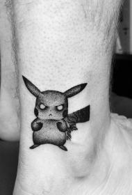 脚踝愤怒的皮卡丘卡通纹身图案