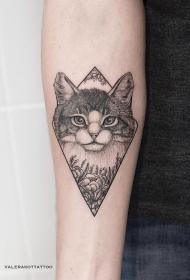 小臂写实猫花蕊几何纹身图案