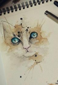 欧美泼墨彩色猫纹身图案手稿
