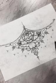 欧美牡丹花挂饰纹身图案手稿
