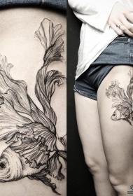 大腿性感金鱼线条泼墨纹身图案