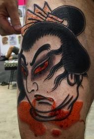 大腿日式生首纹身图案