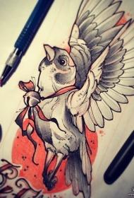 欧美school鸟铃铛纹身图案手稿