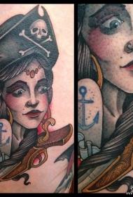 欧美school海盗女郎船锚纹身图案