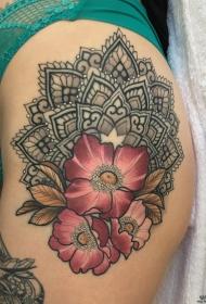 大腿梵花欧美花卉个性纹身图案