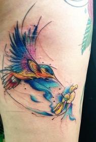 大腿蜂鸟花蕊水彩泼墨纹身图案