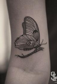 大臂欧美点刺线条蝴蝶纹身图案