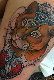 大腿school狮子珠宝爱心纹身图案