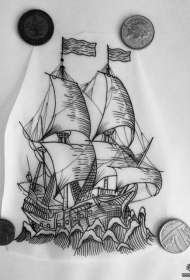 欧美school帆船纹身tattoo图案手稿