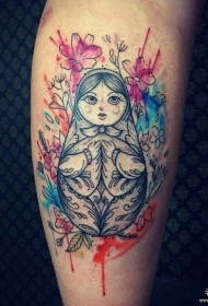 小腿泼墨套娃花朵纹身图案