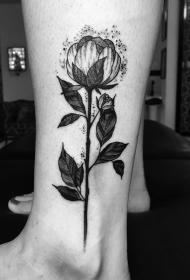 脚踝黑灰植物花纹身图案