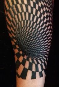 手臂黑色的催眠符号3D纹身图案