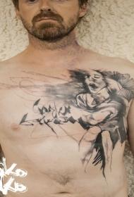 男性胸部黑色抽象的女人和字母纹身图案