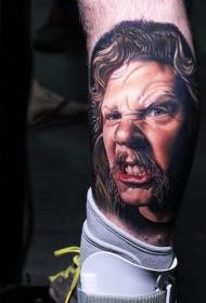 小腿非常逼真的3D彩色男性肖像纹身图案