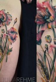 抽象彩色自然的花朵个性纹身图案