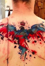 背部抽象水彩风格的小鸟纹身图案