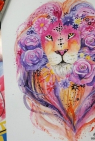 欧美狮子玫瑰泼墨纹身图案手稿
