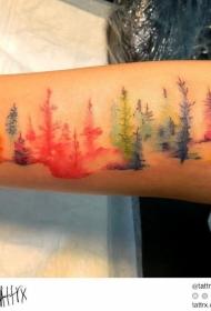 手臂好看的五彩抽象树纹身图案