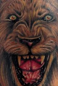 咆哮的狮子彩绘3D纹身图案