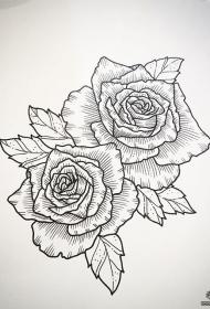 欧美线条玫瑰纹身图案手稿